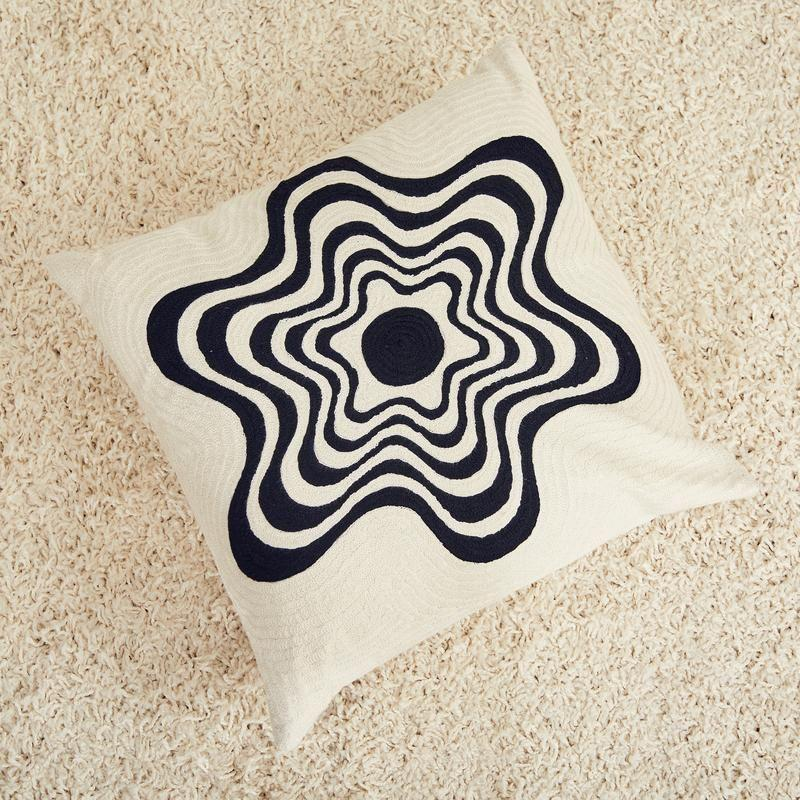 """<p><strong>Dusen Dusen</strong></p><p>dusendusen.com</p><p><strong>$74.00</strong></p><p><a href=""""https://www.dusendusen.com/products/flower-pillow"""" rel=""""nofollow noopener"""" target=""""_blank"""" data-ylk=""""slk:Shop Now"""" class=""""link rapid-noclick-resp"""">Shop Now</a></p><p>A simple white throw pillow with a wavy flower design looks more modern than your typical floral designs. If you want a simple black-and-white color scheme that's not a snooze, this is a great option. </p>"""