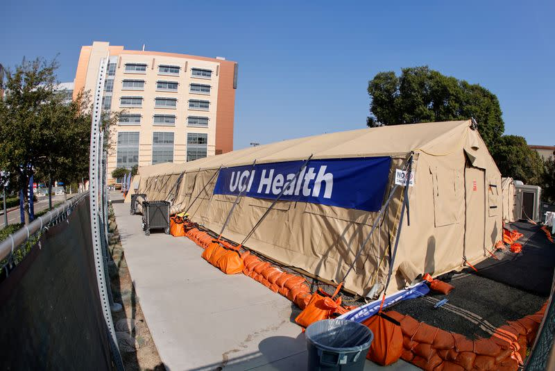 FILE PHOTO: A mobile field hospital is shown outside UCI Medical Center during the outbreak of the coronavirus disease (COVID-19) in Orange, California