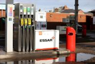 An Essar petrol station with pumps showing no fuel in Stanley