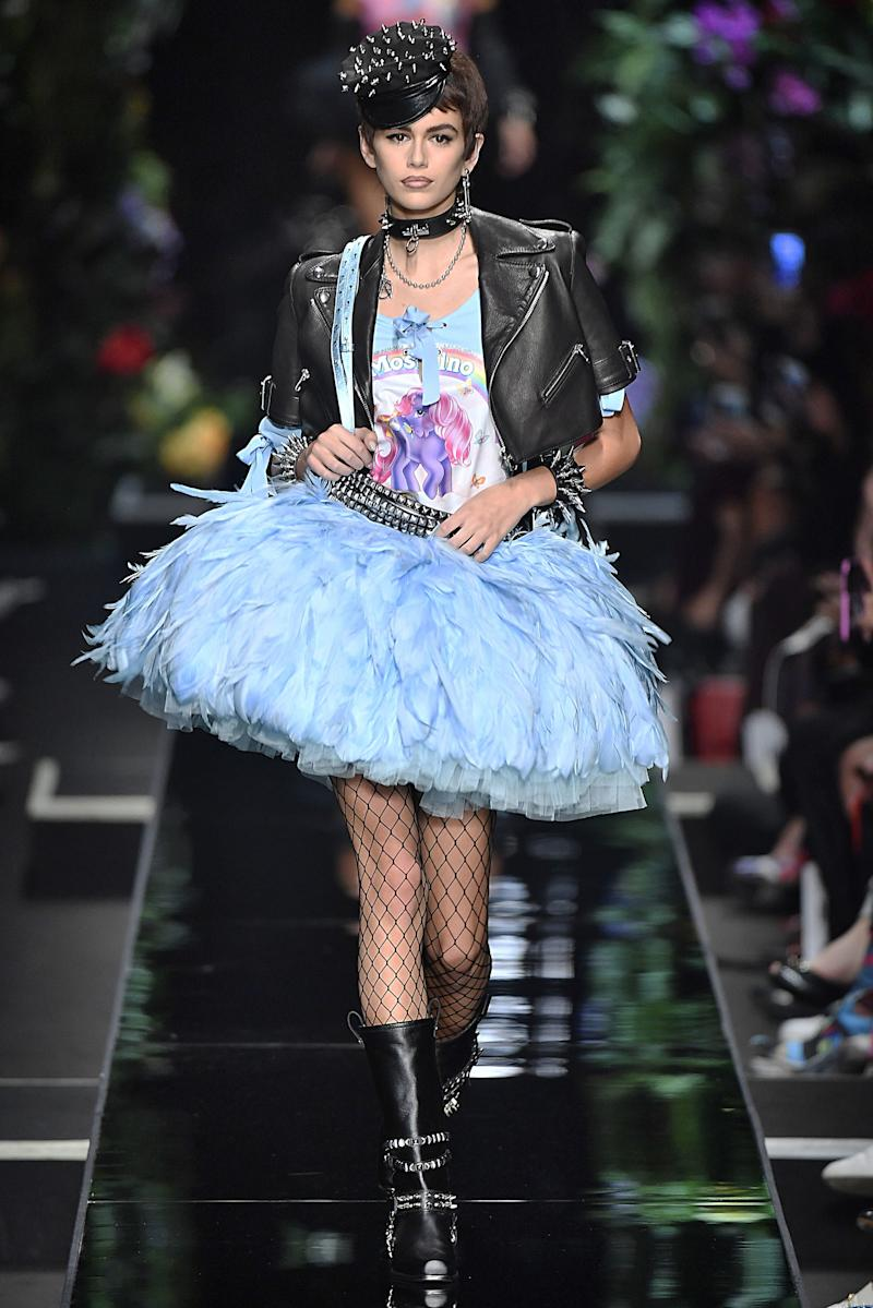 Kaia Gerber walks the runway at the Moschino Ready to Wear Spring/Summer 2018 fashion show during Milan Fashion Week Spring/Summer 2018 on September 21, 2017 in Milan, Italy. (Photo by Victor VIRGILE/Gamma-Rapho via Getty Images)