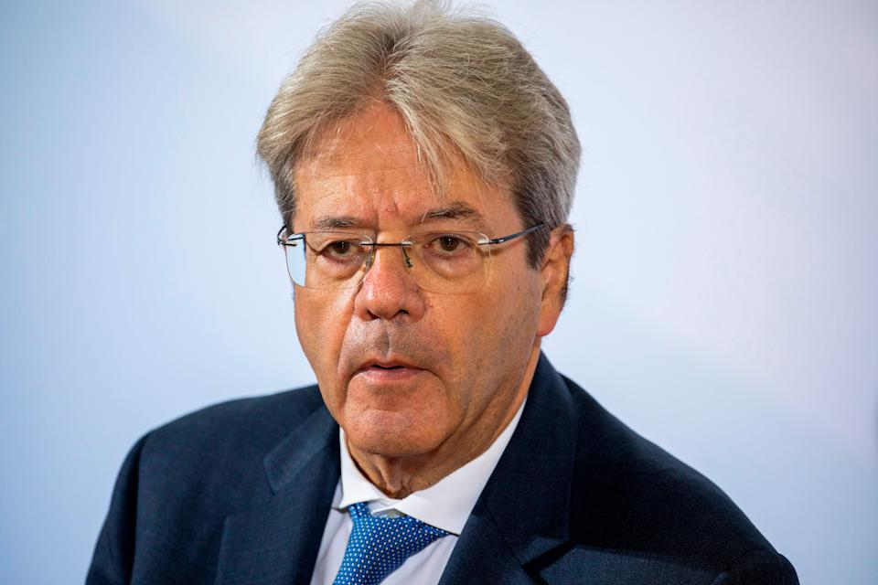 European Commissioner for Economy Paolo Gentiloni speaks to media on his arrival for the second day of the Informal Meeting of EU Ministers for Economics and Financial Affairs in Berlin, September 12, 2020. (Photo by Odd ANDERSEN / various sources / AFP) (Photo by ODD ANDERSEN/AFP via Getty Images) (Photo: ODD ANDERSEN via Getty Images)