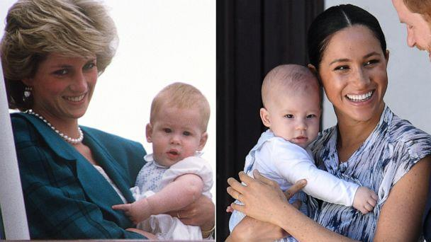 PHOTO: Princess Diana holds her son Harry, left, Meghan, Duchess of Sussex, holds her son Archie, right. (Getty Images)
