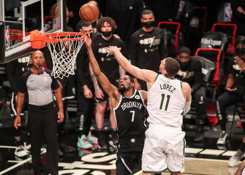 Durant drives by Lopez Game 7 shot blocked