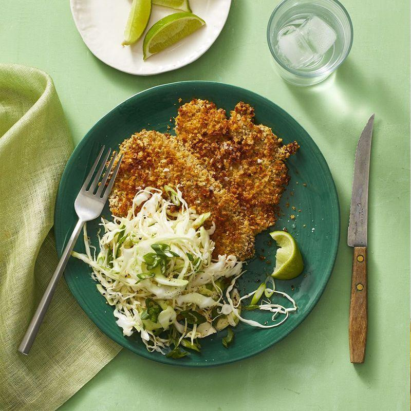 """<p>The perfect meal when you need a break from cooking up chicken or beef at dinner. This crispy pork cutlet pairs perfectly with a ginger-lime cabbage salad.</p><p><em><a href=""""https://www.womansday.com/food-recipes/a32302977/katsu-pork-cutlet-recipe/"""" rel=""""nofollow noopener"""" target=""""_blank"""" data-ylk=""""slk:Get the Katsu Pork Cutlet recipe."""" class=""""link rapid-noclick-resp"""">Get the Katsu Pork Cutlet recipe. </a></em></p>"""