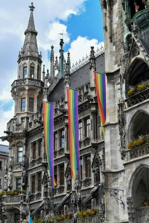 Rainbow coloured flags hung on Munich's town hall before Germany's match against Hungary