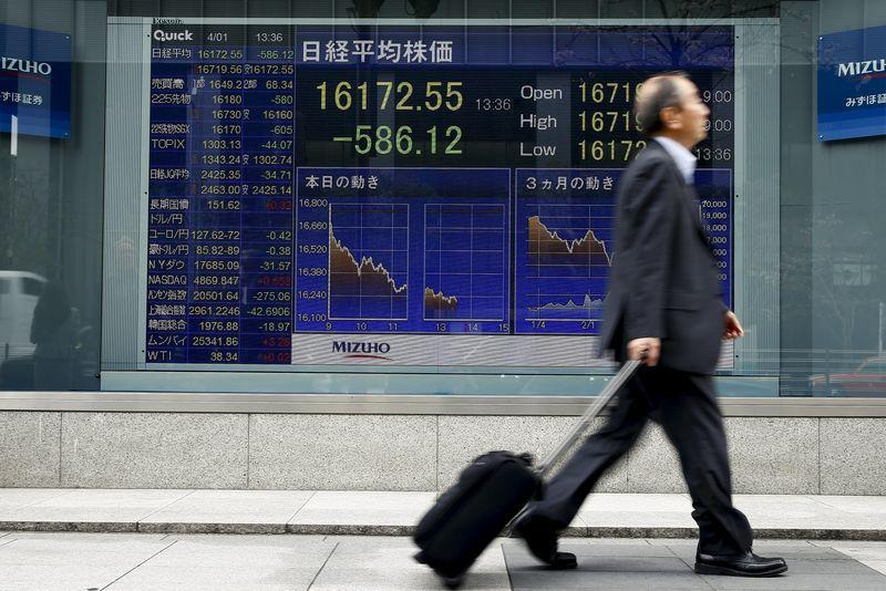 A man walks past an electronic board displaying the Nikkei average outside a brokerage in Tokyo, Japan