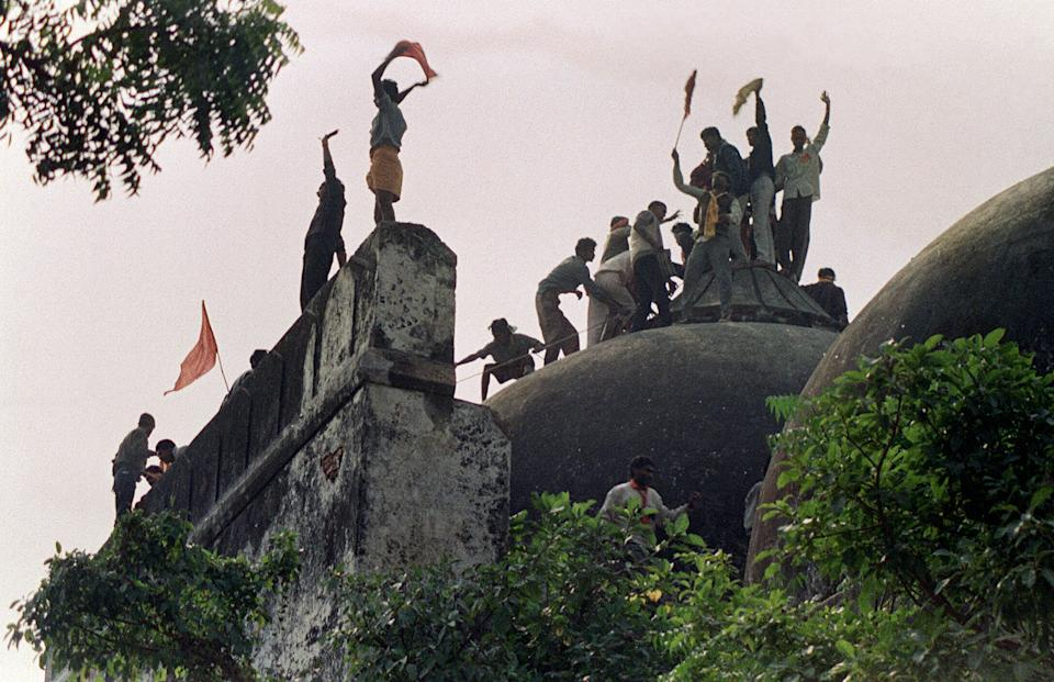 File photo of Babri Masjid on December 6, 1992. Photo: DOUGLAS E. CURRAN/AFP via Getty Images