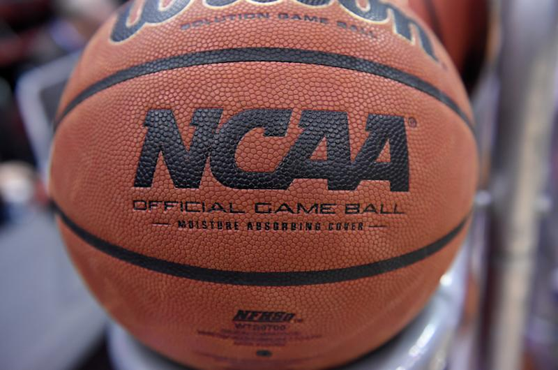 The NCAA logo is shown on a basketball. (G Fiume/Maryland Terrapins/Getty Images)