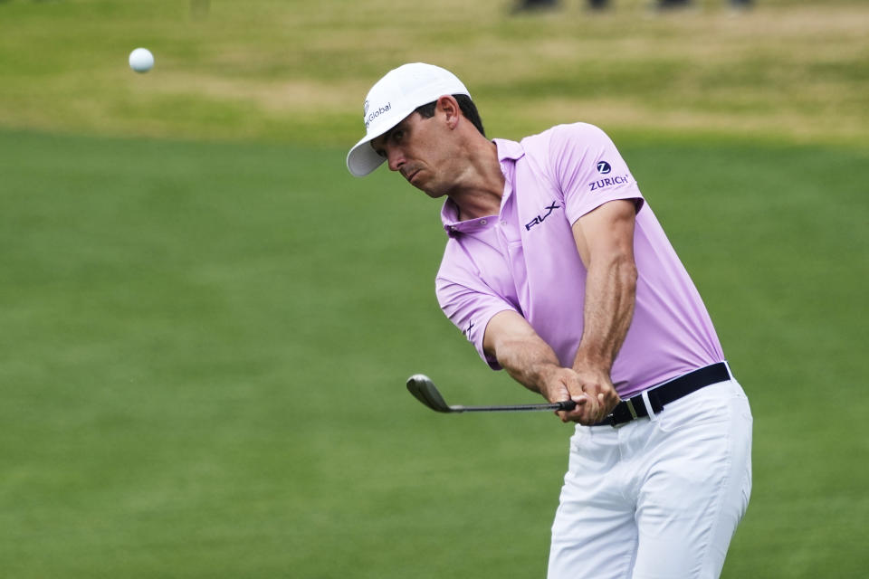Billy Horschel chips onto the 6th green during a round of eight match at the Dell Technologies Match Play Championship golf tournament Saturday, March 27, 2021, in Austin, Texas. (AP Photo/David J. Phillip)