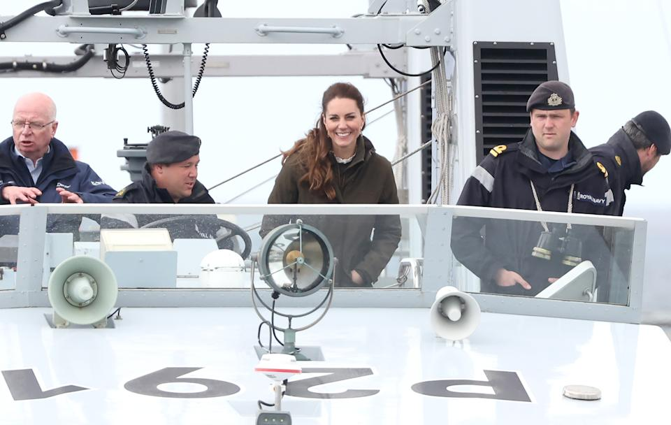 The Duchess of Cambridge spoke to sailors after being taken to see a tidal machine as she visited the European Marine Energy Centre with Prince William on day five of their week long visit to Scotland. (Getty Images)
