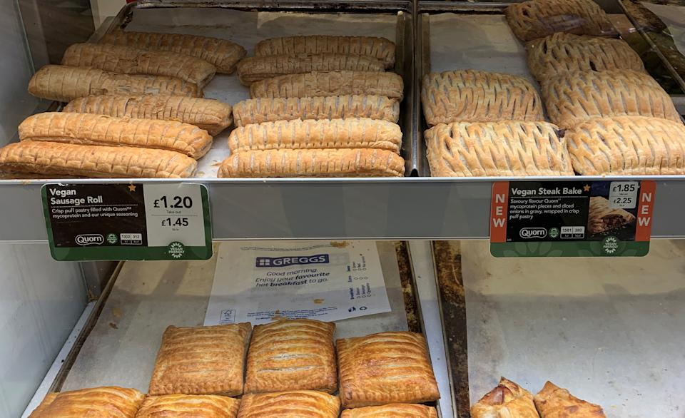 Vegan sausage rolls and Steak Bakes are seen for sale in a Greggs bakery near Manchester, Britain January 8, 2020. REUTERS/Phil Noble