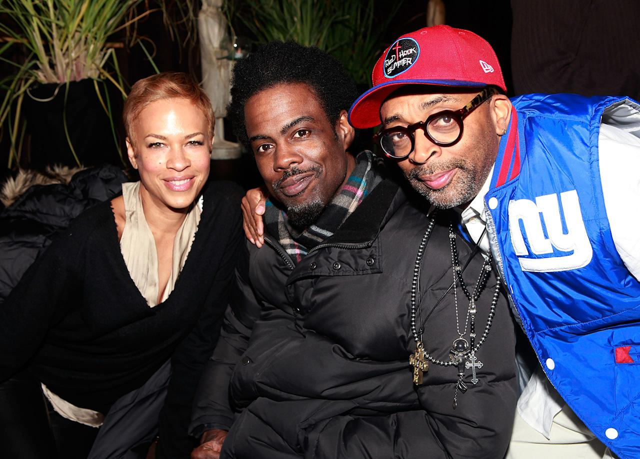 Tonya Lee, Chris Rock and Spike Lee are seen out and about during the 2012 Sundance Film Festival in Park City, Utah on January 22, 2012.