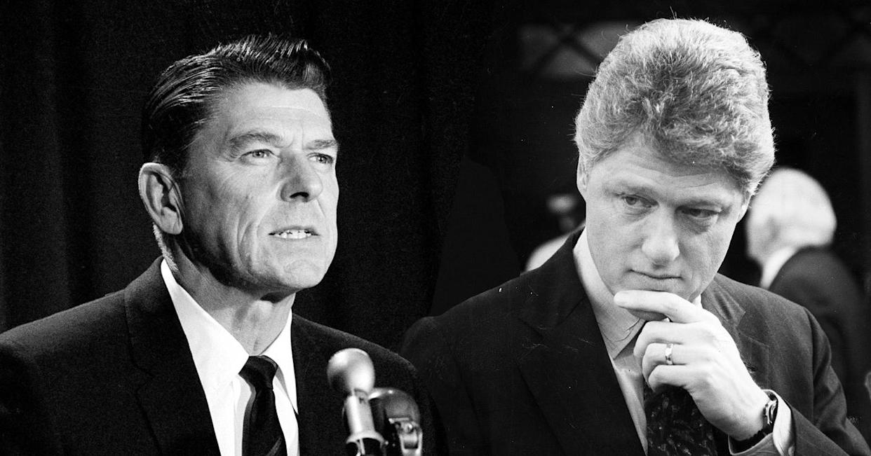 Ronald Reagan in Los Angeles on Jan. 4, 1965, after announcing he would seek the Republican nomination for governor of California; Arkansas Gov. Bill Clinton on the campaign trail in Manchester, N.H., in January 1992. (Yahoo photo illustration; photos: AP; Jonathan Wiggs/The Boston Globe via Getty Images)