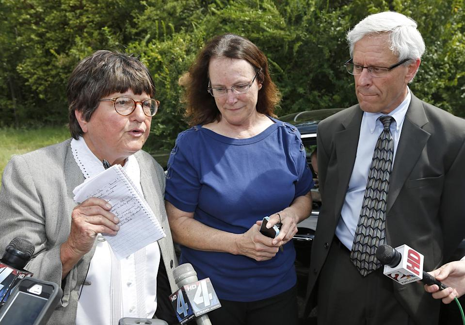 Sister Helen Prejean, Kathleen Lord, and Don Knight outside the Oklahoma State Penitentiary in McAlester Oklahoma. - Credit: Sue Ogrocki/AP