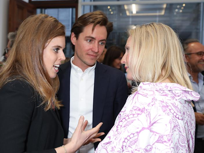 HRH Princess Beatrice of York, Edoardo Mapelli Mozzi and Ruth Ganesh at the Animal Ball Art Show Private Viewing, presented by Elephant Family on May 22, 2019 in London, England.