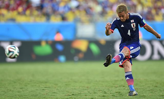 Japan's Keisuke Honda during a World Cup match at the Pantanal Arena in Cuiaba on June 24, 2014 (AFP Photo/Toshifumi Kitamura)