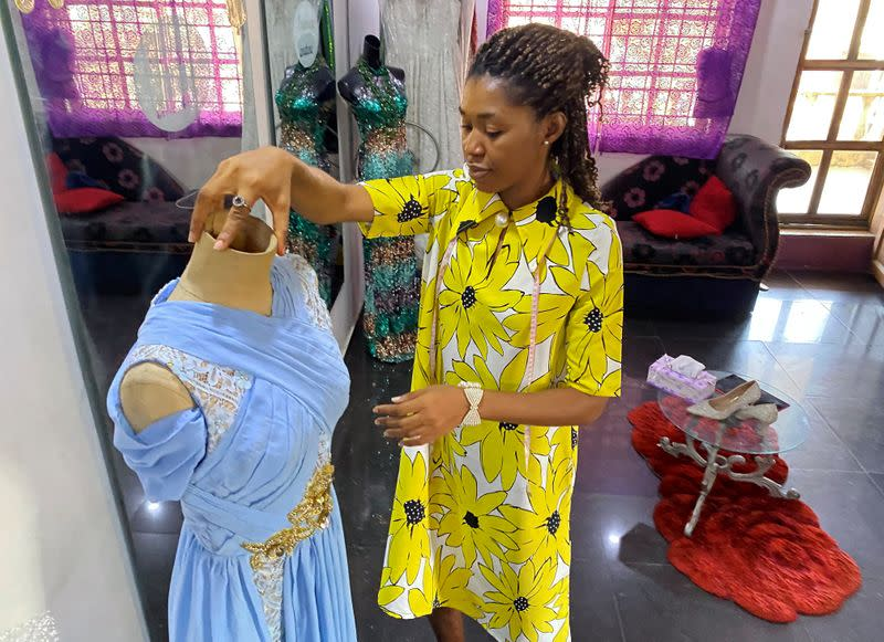 Onomene Adene is pictured at her fashion studio in Lagos