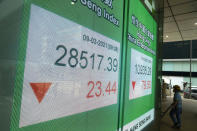A worker wearing a face mask walks past a bank's electronic board showing the Hong Kong share index in Hong Kong, Tuesday, March 9, 2021. Asian shares were mixed Tuesday, cheered by the imminent passage of the U.S. stimulus package, although that optimism was tempered by worries about inflation and the coronavirus pandemic. (AP Photo/Kin Cheung)