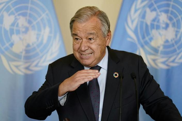 Antonio Guterres, Secretary General of the United Nations, co-hosted a closed-door meeting with several leaders of wealthy nations as part of UN climate week (AFP/John Minchillo)