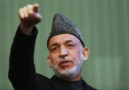 Afghan President Hamid Karzai speaks during news conference in Kabul