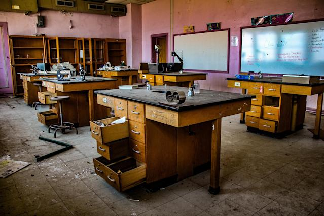 <p>A lab with microscopes still on the tables. (Photo: Leland Kent/Caters News) </p>