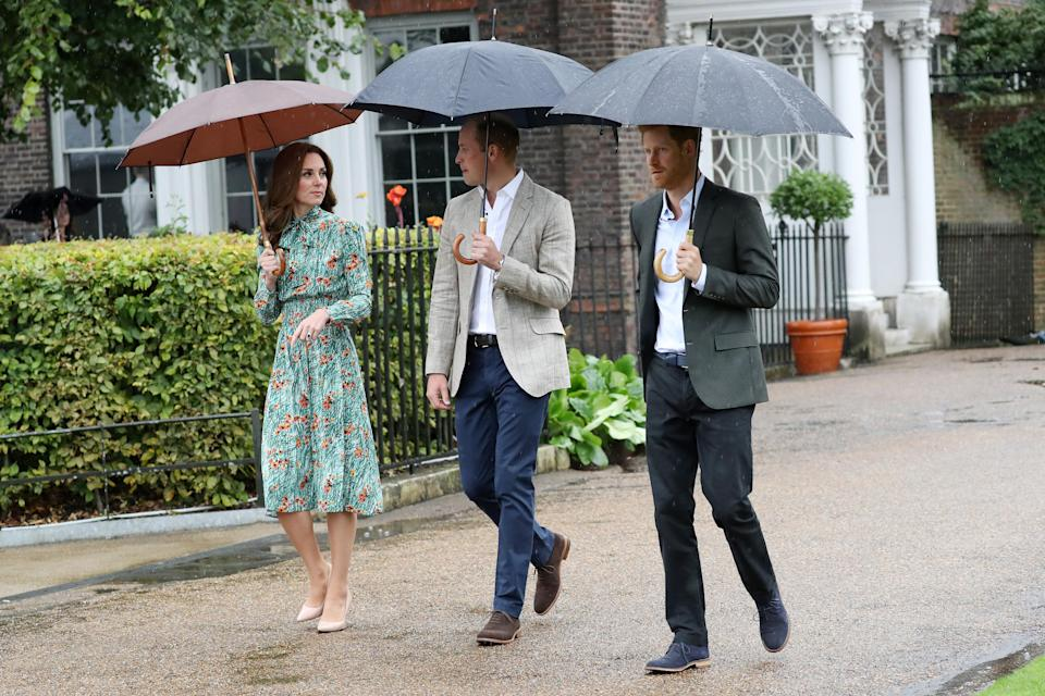 The royal trio visited the Sunken Garden in 2017. (Getty Images)