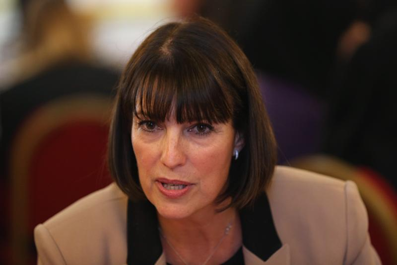 LONDON, ENGLAND - OCTOBER 17: Carolyn McCall, the CEO easyJet, attends an 'Inspiring Women' speed networking event for 100 girls from state secondary schools in Lancaster House on October 17, 2013 in London, England. The event, hosted by Miriam Gonzalez Durantez, a lawyer and wife of Deputy Prime Minister Nick Clegg, launches a campaign for 15,000 women to go into secondary schools to speak to girls about career choices. (Photo by Oli Scarff/Getty Images)