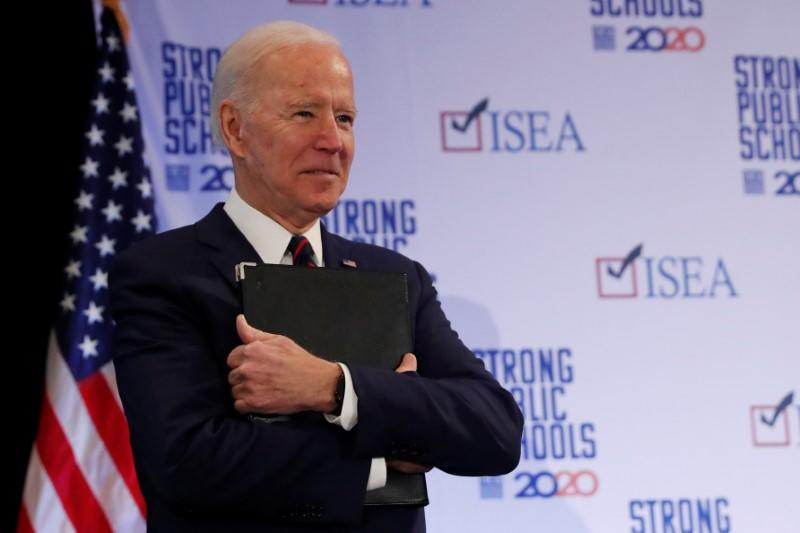 Democratic 2020 U.S. presidential candidate and former U.S. Vice President Joe Biden attends the ISEA (Iowa State Education Association) 2020 Legislative Conference West Des Moines, Iowa