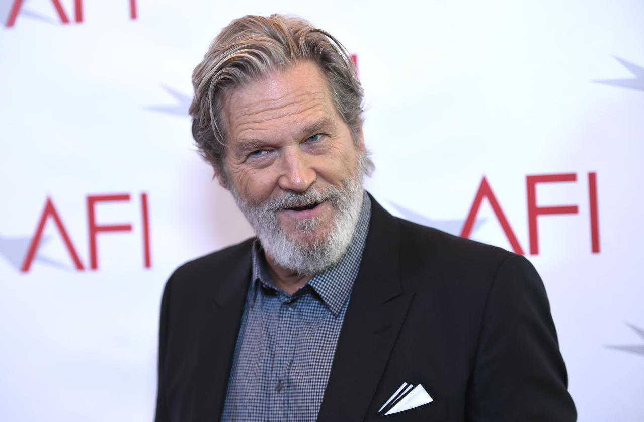 FILE - In this Jan. 6, 2017 file photo Jeff Bridges arrives at the AFI Awards at the Four Seasons Hotel in Los Angeles. Bridges is among stars like Oprah Winfrey, Ellen DeGeneres, Al Gore, Drew Barrymore, Patrick Stewart and Rob Lowe that owns a home or own part-time homes in Montecito, Calif. (Photo by Chris Pizzello/Invision/AP, File)