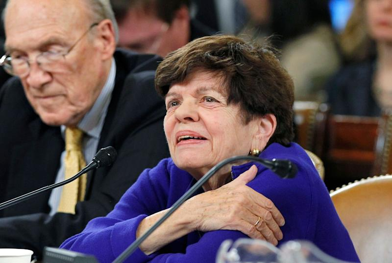 Alice Rivlin, right, a former White House budget director and recently a member of President Obama's debt commission, answers questions from the deficit supercommittee during a hearing on Capitol Hill in Washington, Tuesday, Nov. 1, 2011. At left is former Sen. Alan Simpson, R-Wyo., who co-chaired the Obama debt commission. (AP Photo/J. Scott Applewhite)