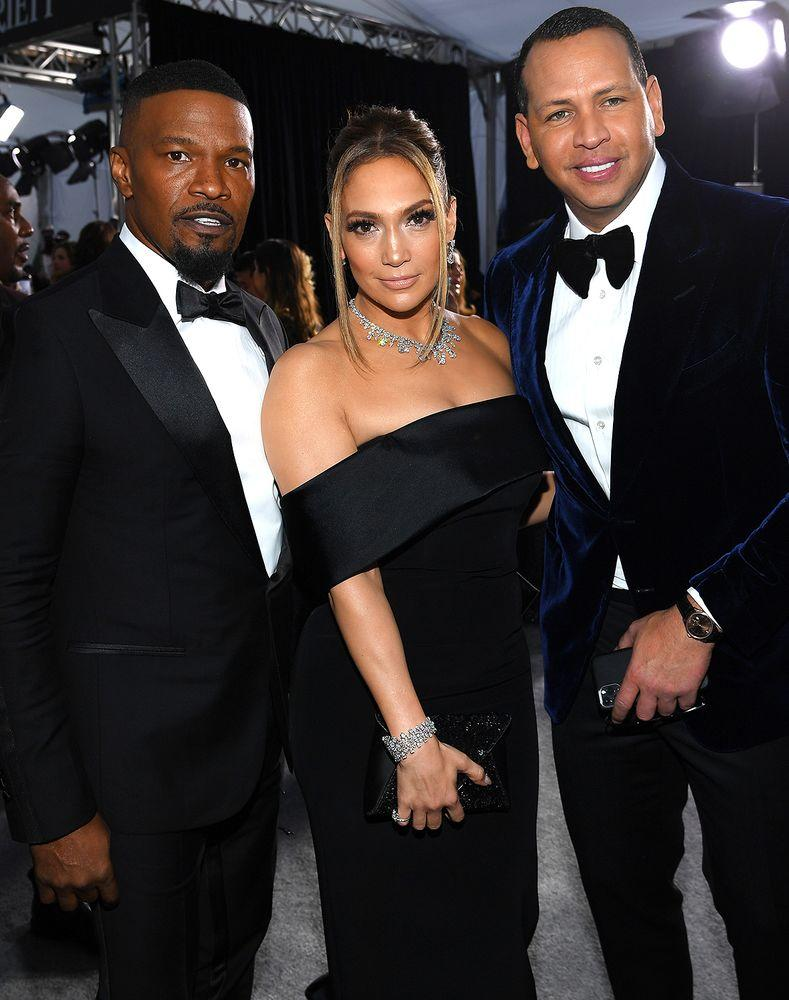 Jamie Foxx, Jennifer Lopez and Alex Rodriguez | Dimitrios Kambouris/Getty