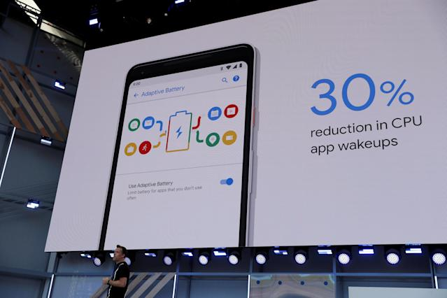 Dave Burke, vice president of engineering, Android, speaks onstage during the annual Google I/O developers conference in Mountain View, California on Tuesday. Source: REUTERS/Stephen Lam