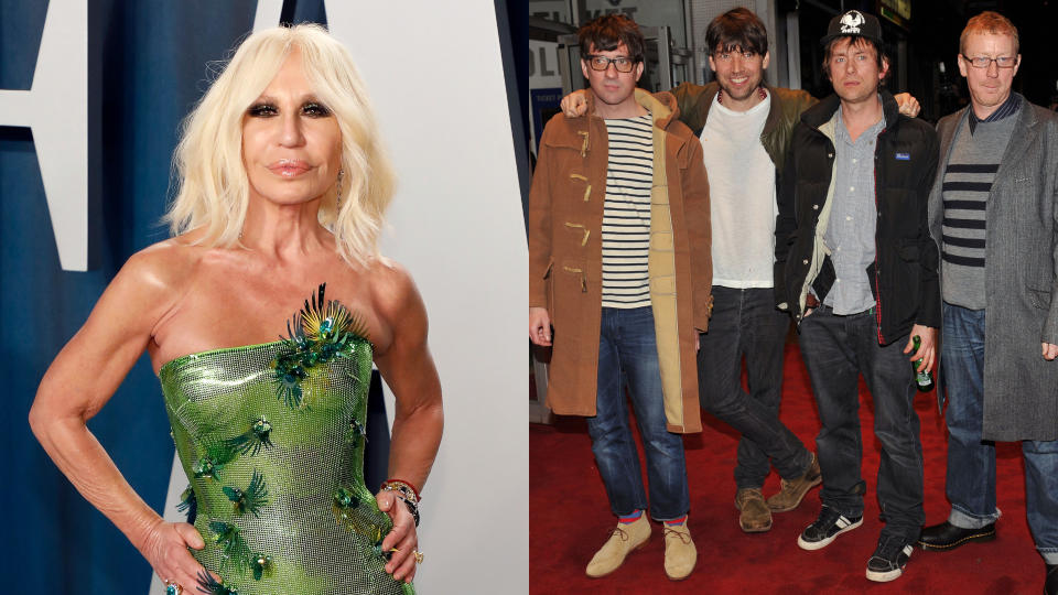 Donatella Versace invited Blur to meet her at Milan Fashion Week, but got Blue instead. (Taylor Hill/FilmMagic/Leon Neal/AFP/Getty)