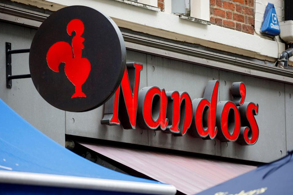 A Nando's chicken restaurant is pictured in central London on September 11, 2019. (Photo by Tolga AKMEN / AFP)        (Photo credit should read TOLGA AKMEN/AFP via Getty Images)