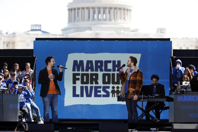 "<p>Lin-Manuel Miranda, left, and Ben Platt perform 'Found Tonight' during the ""March for Our Lives"" rally in support of gun control, Saturday, March 24, 2018, in Washington. (AP Photo/Alex Brandon) </p>"
