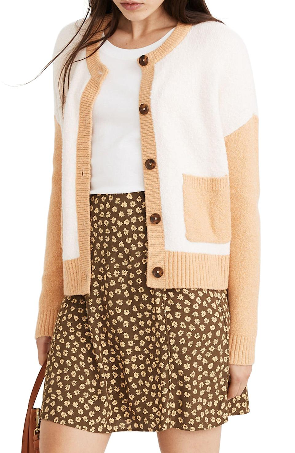 """<p><strong>MADEWELL</strong></p><p>nordstrom.com</p><p><strong>$30.20</strong></p><p><a href=""""https://go.redirectingat.com?id=74968X1596630&url=https%3A%2F%2Fwww.nordstrom.com%2Fs%2Fmadewell-colburne-colorblock-coziest-textured-yarn-cardigan-sweater%2F5707558&sref=https%3A%2F%2Fwww.redbookmag.com%2Flife%2Fg34807129%2Fnordstrom-black-friday-cyber-monday-deals-2020%2F"""" rel=""""nofollow noopener"""" target=""""_blank"""" data-ylk=""""slk:Shop Now"""" class=""""link rapid-noclick-resp"""">Shop Now</a></p><p><strong><del>$89.50</del> $30.20 (66% off)</strong></p><p>A chic beige and cream cardigan at more than half off?! I'm sold. </p>"""