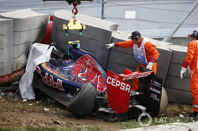 """The Scuderia Toro Rosso STR10 of Carlos Sainz Jr., in the Tecpro barriers<span class=""""copyright"""">Steven Tee / Motorsport Images</span>"""