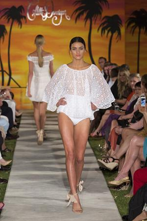 The collection featured Dinnigan's signature embellished dresses and printed swimwear.
