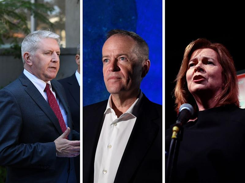(Left to right) Shadow minister for employment and workplace relations Brendan O'Connor; Opposition leader Bill Shorten; ACTU president Michele O'Neil. (Photos: Getty)