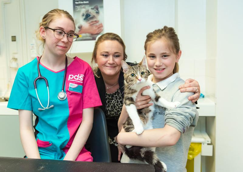 Student Vet Nurse Sadie Reece, Kaylie Banks, Lucie Banks with Chi the kitten, which has survived life-threatening injuries after it was taken on a 40-mile journey after hiding under the bonnet of a neighbour's car