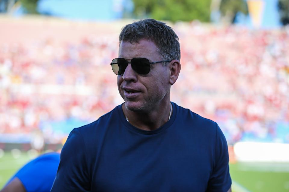 Troy Aikman would work in an NFL front office, just not the Cowboys'. (Jevone Moore/Icon Sportswire via Getty Images)