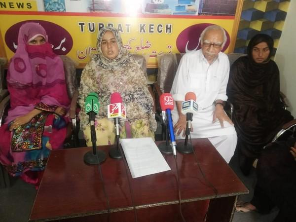 The relatives of Irfan Baloch and Noor Khan Baloch along with Human Rights Commission of Pakistan Makuran chapter coordinator Ghani Parwaz holding a press conference on Wednesday. Photo/ANI
