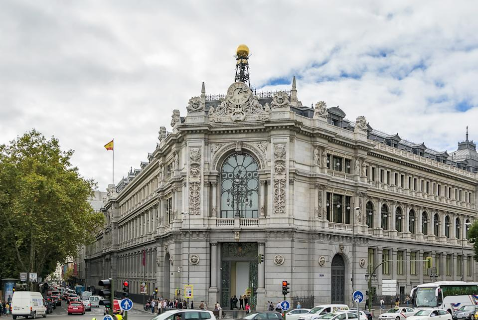 The magnificent Bank of Spain building  at the beautiful Plaza de la Cibeles was built between 1884 and 1891 in Madrid, Spain
