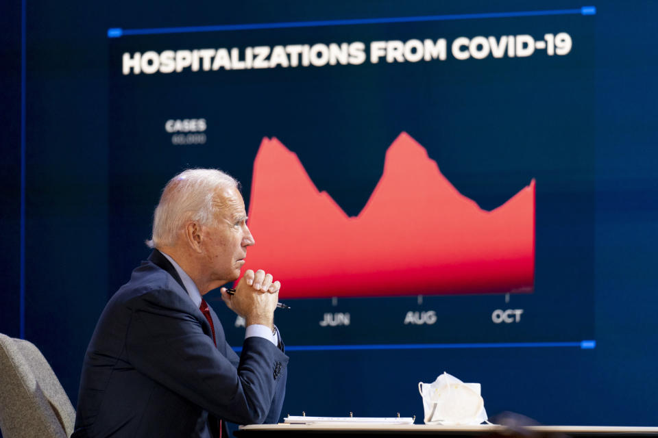 Democratic presidential candidate former Vice President Joe Biden attends a virtual public health briefing at The Queen theater in Wilmington, Del., Wednesday, Oct. 28, 2020. (AP Photo/Andrew Harnik)