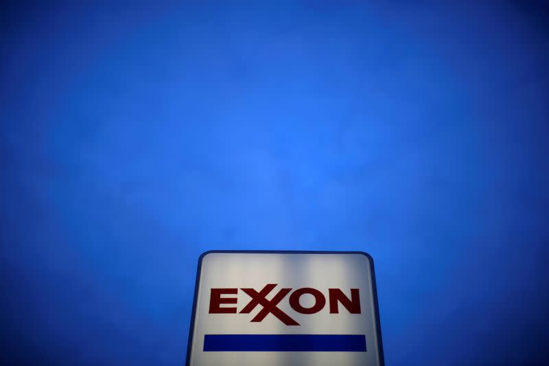 FILE PHOTO: FILE PHOTO:An Exxon sign is seen at a gas station in the Chicago suburb of Norridge