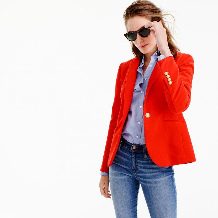 Model in red blazer by J.Crew