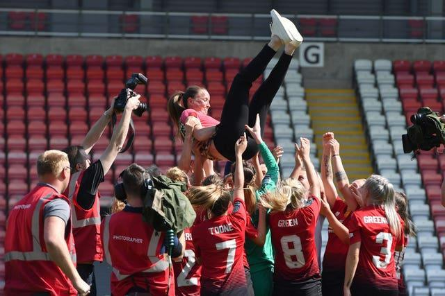 Casey Stoney led Manchester United Women to the top flight