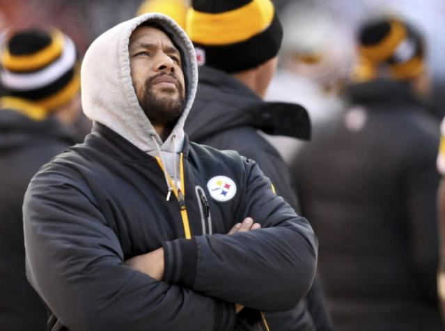 Pittsburgh Steelers injured safety Troy Polamalu looks on during the fourth quarter of their NFL football game against the Cleveland Browns in Cleveland