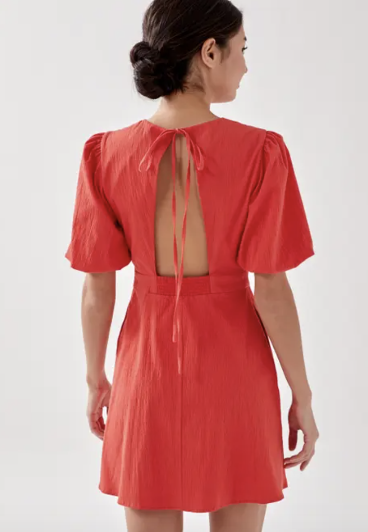 PHOTO: Love, Bonito. Sadie Padded Tie Back Puff Sleeve Dress