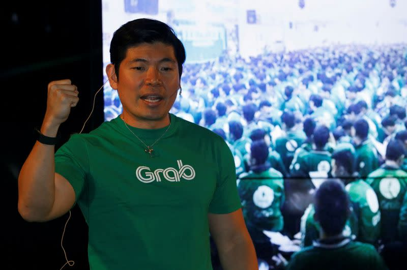 FILE PHOTO: FILE PHOTO: Grab's CEO Anthony Tan speaks during Grab's fifth anniversary news conference in Singapore